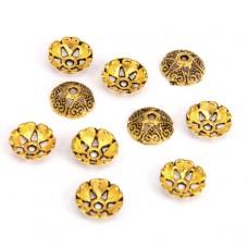FSH1001G Шапочки для бусин 10шт. 8мм для бусин d.8-10мм, цвет золот.