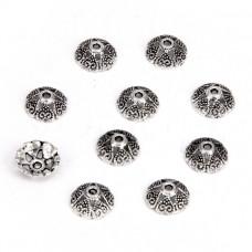 FSH1001S Шапочки для бусин 10шт. 8мм для бусин d.8-10мм, цвет серебр.