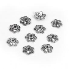 FSH1002S Шапочки для бусин 10шт. 10мм для бусин d.10-12мм, цвет серебр.