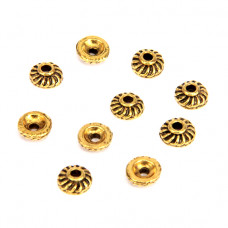 FSH1006G Шапочки для бусин 10шт. 7мм для бусин d.5-8мм, цвет золот.