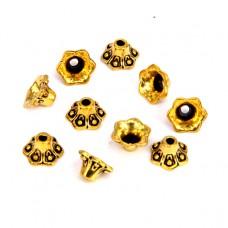 FSH1009G Шапочки для бусин 10шт. 9мм для бусин d.10мм, цвет золот.