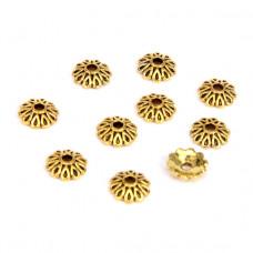 FSH1012G Шапочки для бусин 10шт. 7мм для бусин d.8-10мм, цвет золот.