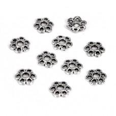 FSH1014S Шапочки для бусин 10шт. 9мм для бусин d.12-16мм, цвет серебр.