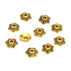 FSH1015G Шапочки для бусин 10шт. 11мм для бусин d.12-14мм, цвет золот.
