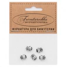 """FUB0013S """"Фурниторочка"""" 5 бусин Сова 7х10мм, отверстие 1мм, цвет серебр."""
