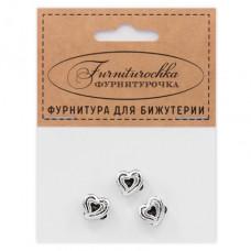 """FUB0029S """"Фурниторочка"""" 3 бусины Сердце 11х11мм, отверстие 4мм, цвет серебр."""