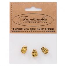 """FUB0031G """"Фурниторочка"""" 3 бусины Король-Лев 8х11мм, отверстие 4мм, цвет золот."""