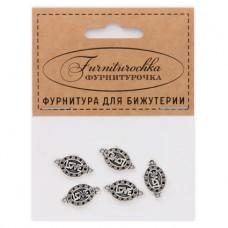 "FUC0004S ""Фурниторочка"" 5 коннекторов Love 18х10мм, цвет серебр."