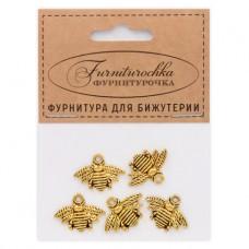 "FUP0017G ""Фурниторочка"" 5 подвесок Пчела 22х11мм цвет золот."