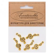 """FUP0028G """"Фурниторочка"""" 5 подвесок Скрипичный ключ 10х25мм цвет золот."""