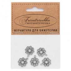 "FUP0046S ""Фурниторочка"" 5 подвесок Цветок 14х17мм цвет серебр."