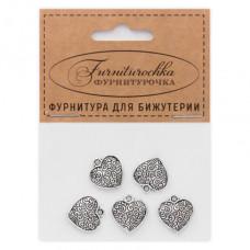 "FUP0070S ""Фурниторочка"" 5 подвесок Сердце 15х15мм цвет серебр."