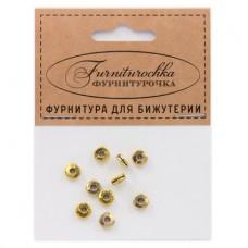 """FUR0001G """"Фурниторочка"""" 10 бусин-разделителей d.6мм, отверстие 2мм, цвет золот."""