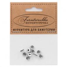 """FUR0001S """"Фурниторочка"""" 10 бусин-разделителей d.6мм, отверстие 2мм, цвет серебр."""