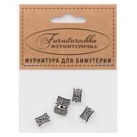 """FUR0002S """"Фурниторочка"""" 5 бусин-разделителей 8х11мм с 3-мя отверстиями, цвет серебр."""