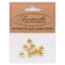 """FUR0006G """"Фурниторочка"""" 10 бусин-разделителей d.7мм, отверстие 2мм, цвет золот."""