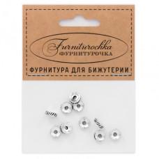 """FUR0006S """"Фурниторочка"""" 10 бусин-разделителей d.7мм, отверстие 2мм, цвет серебр."""