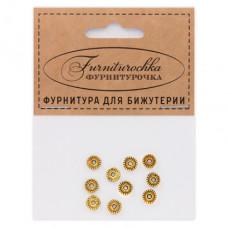 """FUR0007G """"Фурниторочка"""" 10 бусин-разделителей d.6мм, отверстие 1,5мм, цвет золот."""