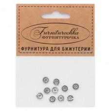 """FUR0007S """"Фурниторочка"""" 10 бусин-разделителей d.6мм, отверстие 1,5мм, цвет серебр."""