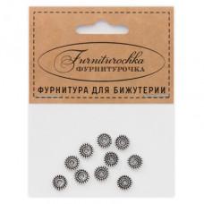 """FUR0008S """"Фурниторочка"""" 10 бусин-разделителей d.7мм, отверстие 2мм, цвет серебр."""