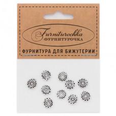 """FUR0009S """"Фурниторочка"""" 10 бусин-разделителей d.9мм, отверстие 2мм, цвет серебр."""