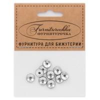 """FUR0011S """"Фурниторочка"""" 10 бусин-разделителей d.9мм, отверстие 1,5мм, цвет серебр."""