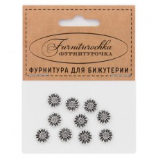 """FUR0012S """"Фурниторочка"""" 10 бусин-разделителей d.9мм, отверстие 1,5мм, цвет серебр."""