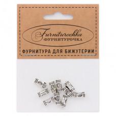 """FUR0013S """"Фурниторочка"""" 10 бусин-разделителей L.10мм, отверстие 1,5мм, цвет серебр."""
