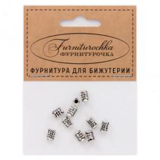"""FUR0014S """"Фурниторочка"""" 10 бусин-разделителей L.7мм, отверстие 1,5мм, цвет серебр."""