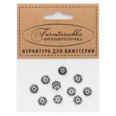 """FUS0001S """"Фурниторочка"""" 10 шапочек 8мм для бусин d.8-10мм, цвет серебр."""