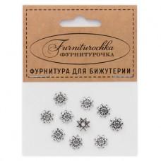 """FUS0003S """"Фурниторочка"""" 10 шапочек 9мм для бусин d.10мм, цвет серебр."""
