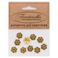 """FUS0015G """"Фурниторочка"""" 10 шапочек 11мм для бусин d.12-14мм, цвет золот."""