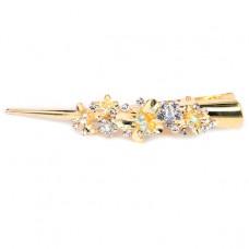 HZU002-1 Зажим для волос со стразами Цветы 13см, цвет золот.