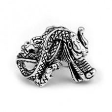KL001 Кольцо Дракон безразмерное, металл, цвет серебр.