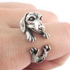 KL002-1 Кольцо Собака безразмерное, металл, цвет серебр.