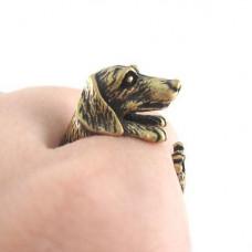KL002-2 Кольцо Собака безразмерное, металл, цвет бронз.