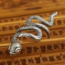 KL003 Кольцо Змея безразмерное, металл, цвет серебр.
