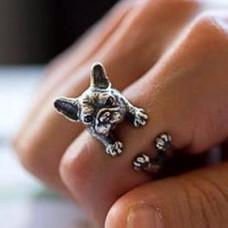 KL006-2 Кольцо Собака безразмерное, металл, цвет серебр.