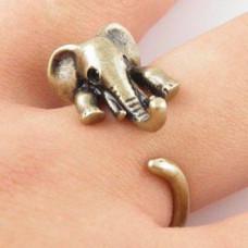 KL007-1 Кольцо Слон безразмерное, металл, цвет бронз.