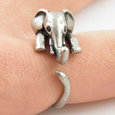 KL007-2 Кольцо Слон безразмерное, металл, цвет серебр.