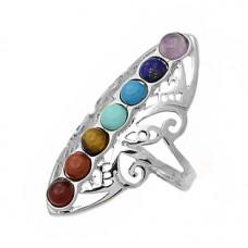 """KL014 Кольцо """"7 чакр"""" с натуральными камнями, размер 19, нерж.сталь"""