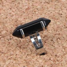 KL017-13 Кольцо с натуральным камнем Чёрный агат