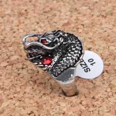 KL020-10 Кольцо Дракон, размер 10 (19,9мм), цвет серебр.