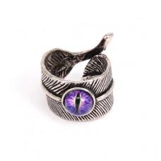 KL022 Кольцо Перо с глазом безразмерное, цвет серебр.