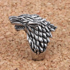 KL024-8 Кольцо Волк, размер 8 (18,5мм), цвет серебр.