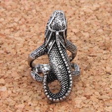 KL025 Кольцо Игуана большое, цвет серебр.