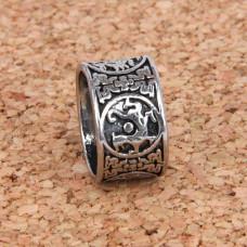 KL028-10 Кольцо Звериный стиль, размер 10 (19,9мм), цвет серебр.