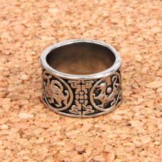 KL028-8 Кольцо Звериный стиль, размер 8 (18,5мм), цвет серебр.