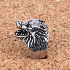 KL030-9 Кольцо Волк, размер 9 (19мм), цвет серебр.