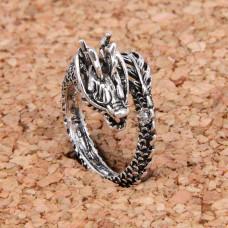 KL035 Кольцо Дракон безразмерное, цвет серебр.